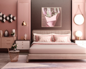 ピンクのベッドルーム